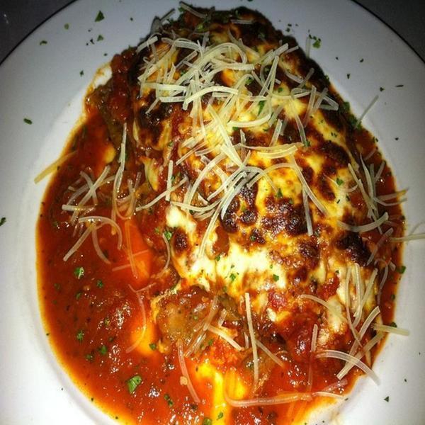 Eggplant Parmigiana Lucianos Italian Restaurant View