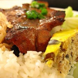 grilled-pork-chop,-shredded-pork-&-egg-cake-over-steamed-rice