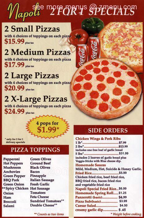 Online Menu Of Napoli Pizza Restaurant Restaurant Burlington Iowa 52601 Zmenu