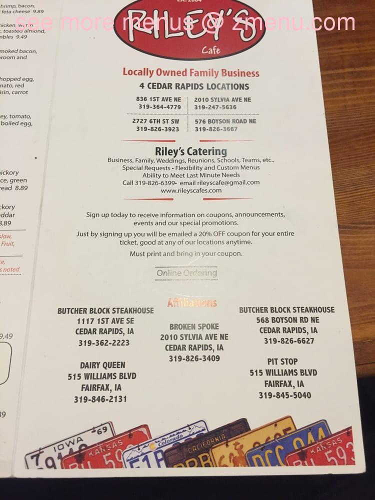 Riley S Cafe Cedar Rapids Menu