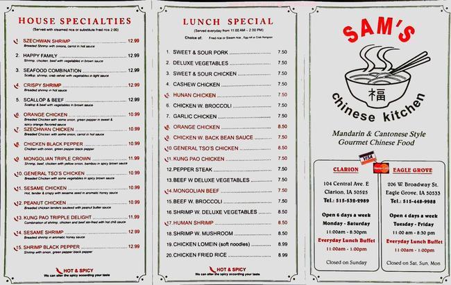 Menu of Sams Chinese Kitchen Restaurant