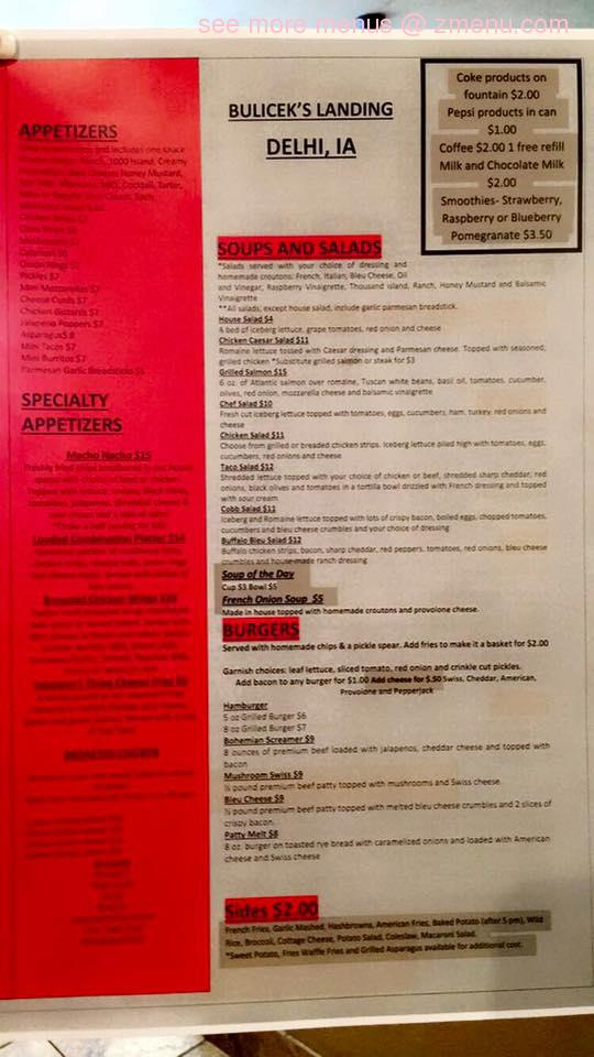 Online Menu of Buliceks Landing Restaurant, Delhi, Iowa