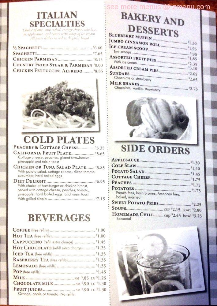 Frontier Cafe Menu Grinnell