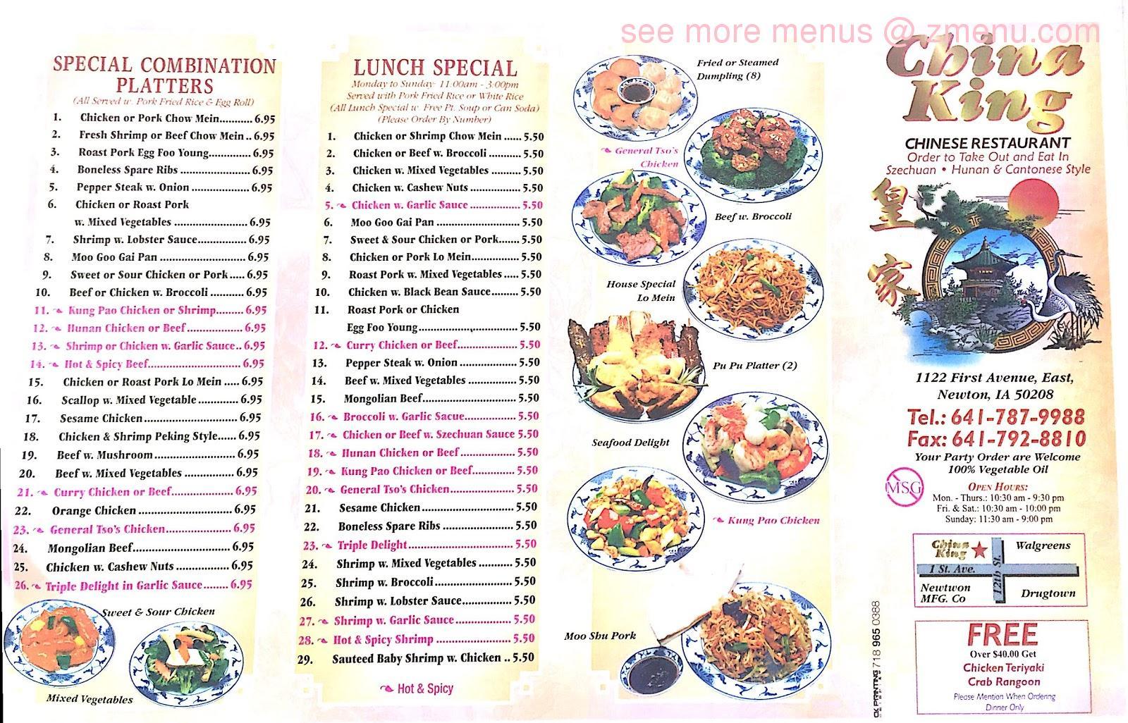 Online Menu Of China King Restaurant Newton Iowa 50208 Zmenu