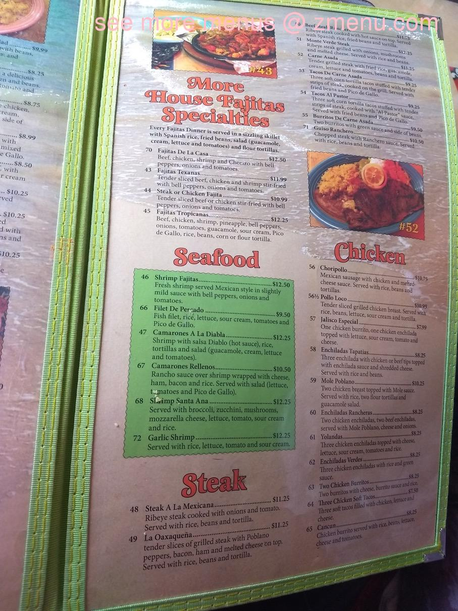 Online Menu Of Fiesta Tropicana Restaurant Lancaster Ohio