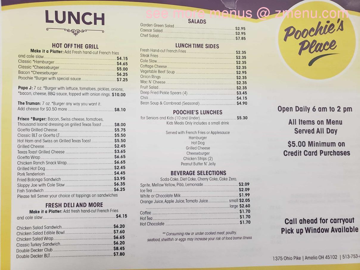 Menu Of Poochies Place Restaurant