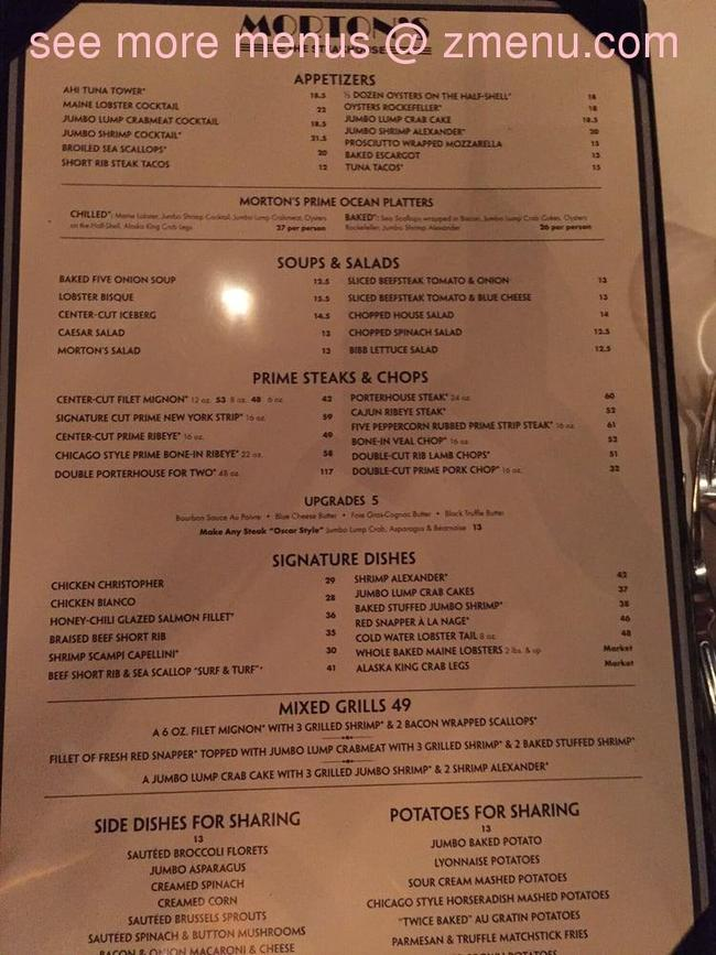 Online Menu of Mortons The Steakhouse Restaurant, Biloxi
