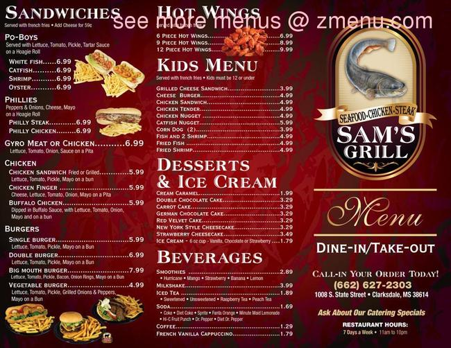Online Menu Of Sam S Grill Closed Restaurant Clarksdale