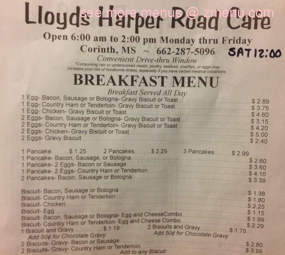 Lloyd S Cafe Corinth Ms Menu