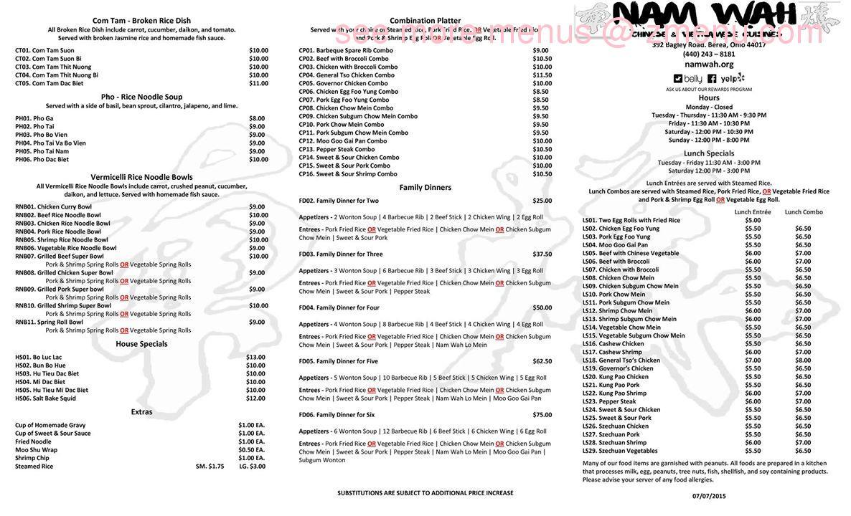 Online Menu of Nam Wah Chinese Vietnamese Restaurant, Berea, Ohio ...