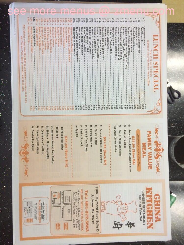 Online Menu Of China Kitchen Restaurant Jackson Mississippi 39212 Zmenu