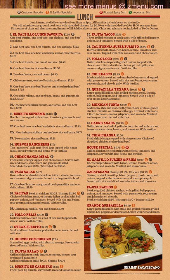 Online Menu Of El Saltillo Restaurant Ocean Springs Mississippi
