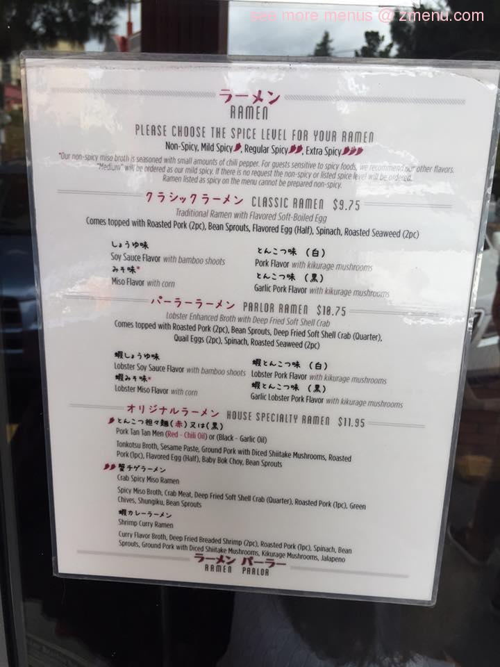 Online Menu of Ramen Parlor Restaurant, San Mateo, California, 94401