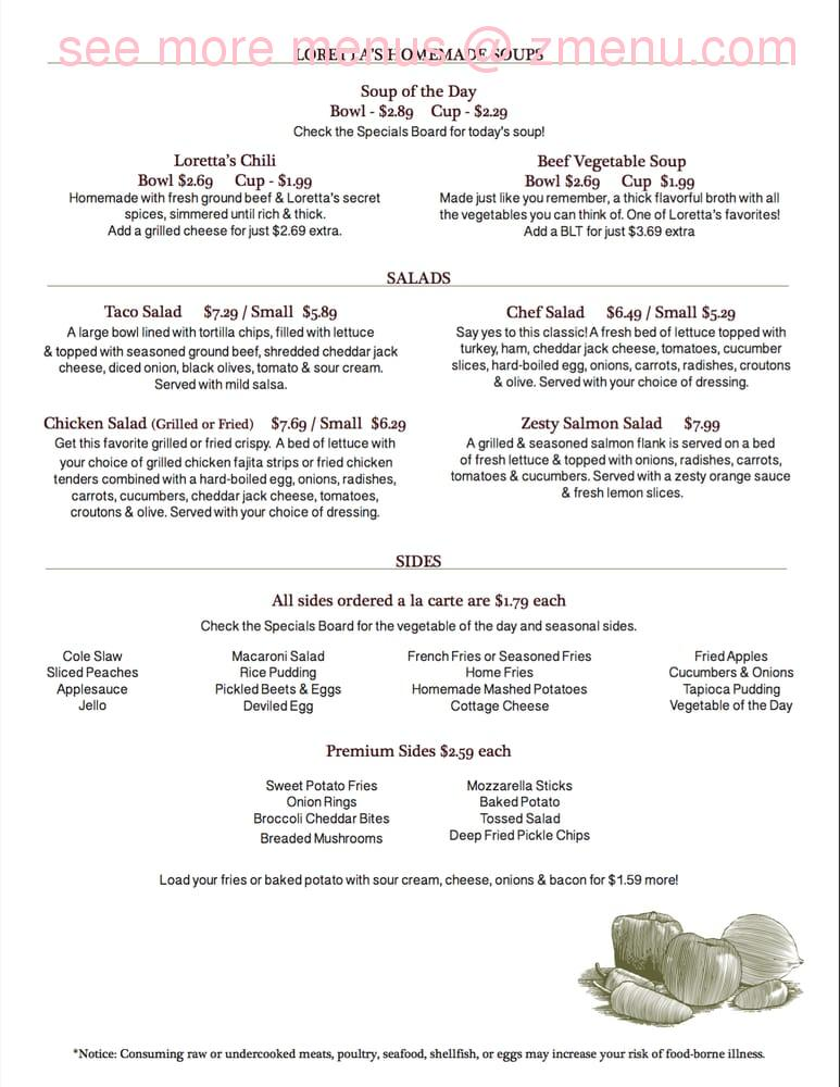 Online Menu Of Lorettas Country Kitchen Restaurant Christiansburg Ohio 45389 Zmenu
