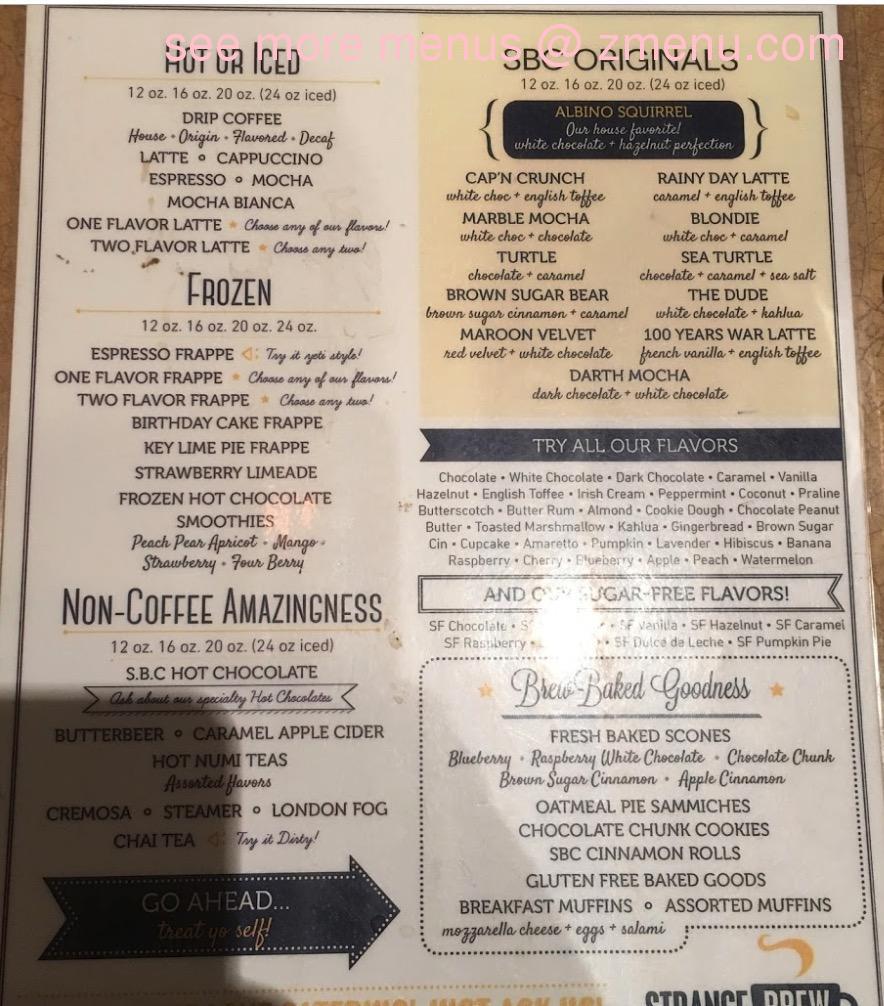 Online Menu Of Strange Brew Coffeehouse Restaurant Starkville