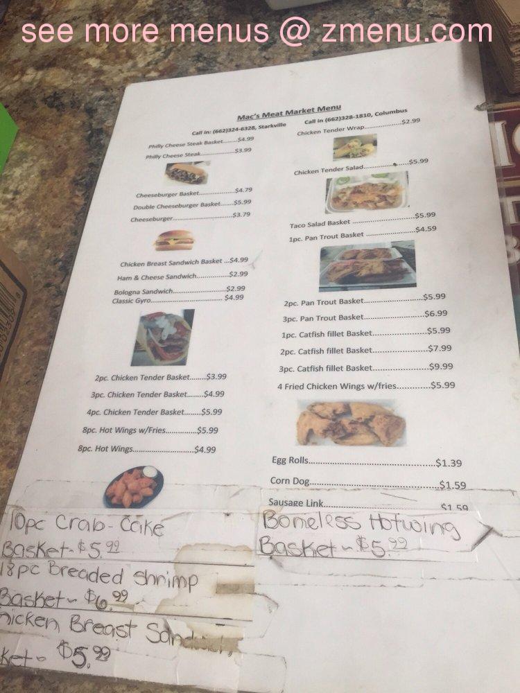 Online Menu Of Mac S Meat Market Restaurant Starkville