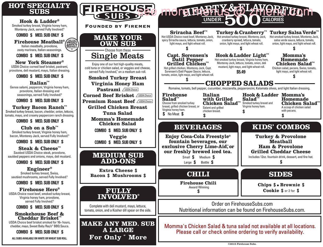photograph about Firehouse Subs Printable Menu identify On the web Menu of Firehouse Subs Cafe, Tupelo
