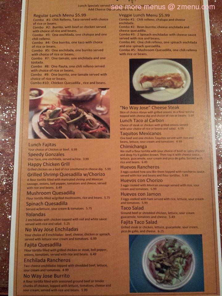 no way jose houston ms menu