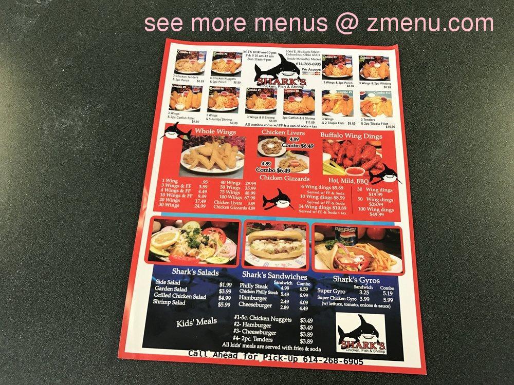 Online Menu Of Sharks Fish Chicken Restaurant Columbus Ohio