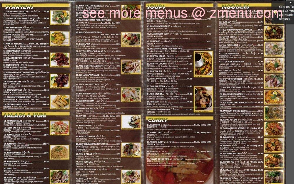 online menu of tantawan thai kitchen restaurant, rosemead