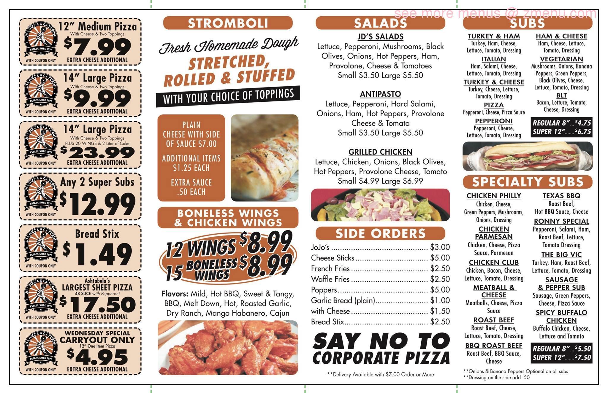 Online Menu Of JDs Pizza & Catering Restaurant, Conneaut