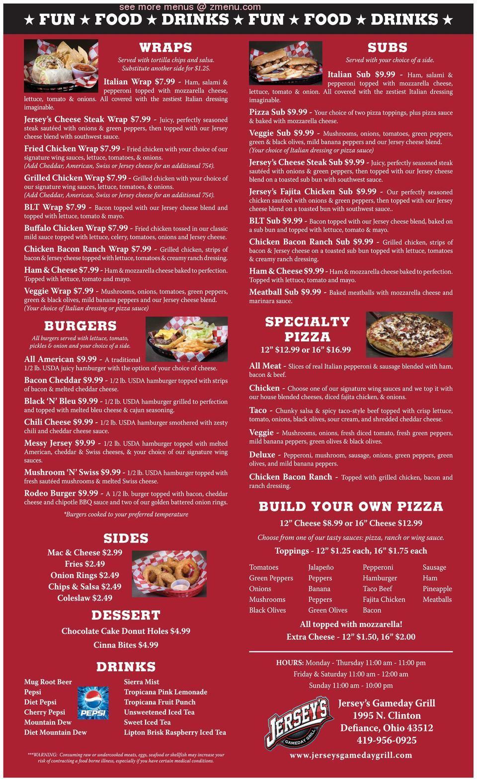 Online Menu of Jerseys Gameday Grill Restaurant, Defiance, Ohio ...