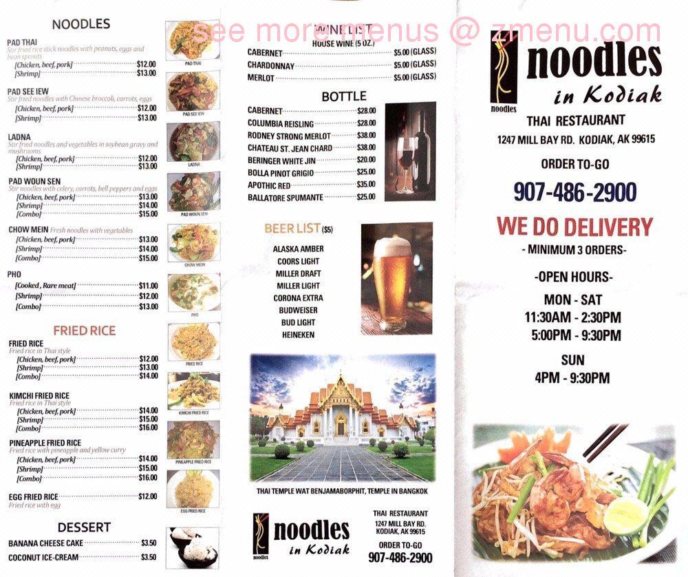 Online Menu Of Noodles Restaurant Kodiak Alaska 99615 Zmenu