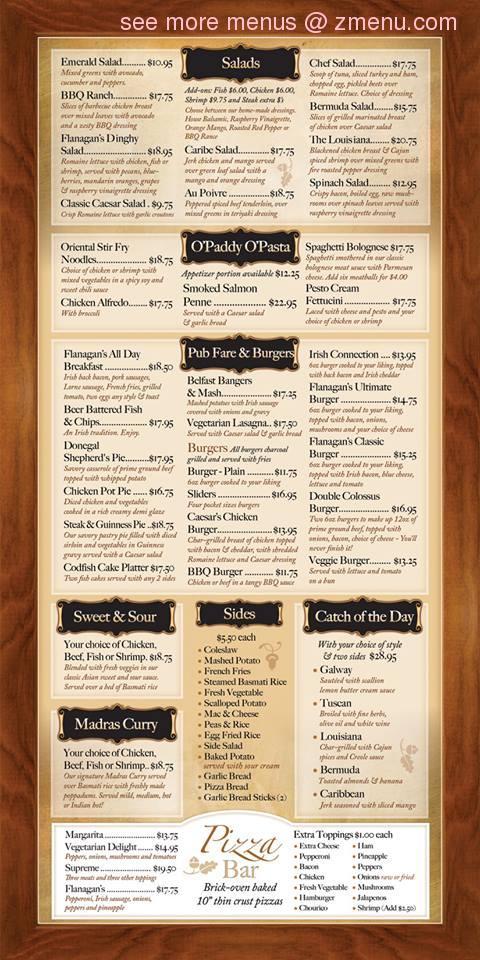 The 29 >> Online Menu of Flanagan's Irish Pub & Restaurant Restaurant, Hamilton, Ohio, 02134 - Zmenu