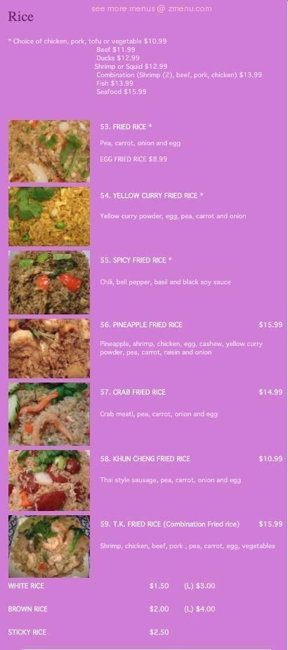 Online Menu Of Thai Kitchen Restaurant Simi Valley California 93065 Zmenu