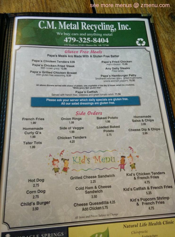 Online Menu Of Grannys Kitchen Restaurant Huntsville