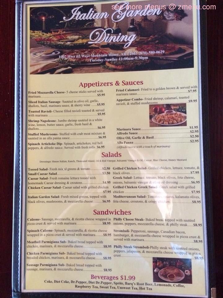 online menu of italian garden dining restaurant mountain home arkansas 72653 zmenu