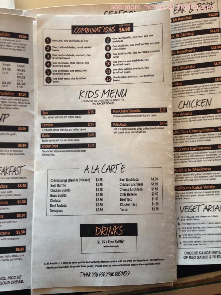 Online Menu Of Mi Pueblito Mexican Restaurant Restaurant