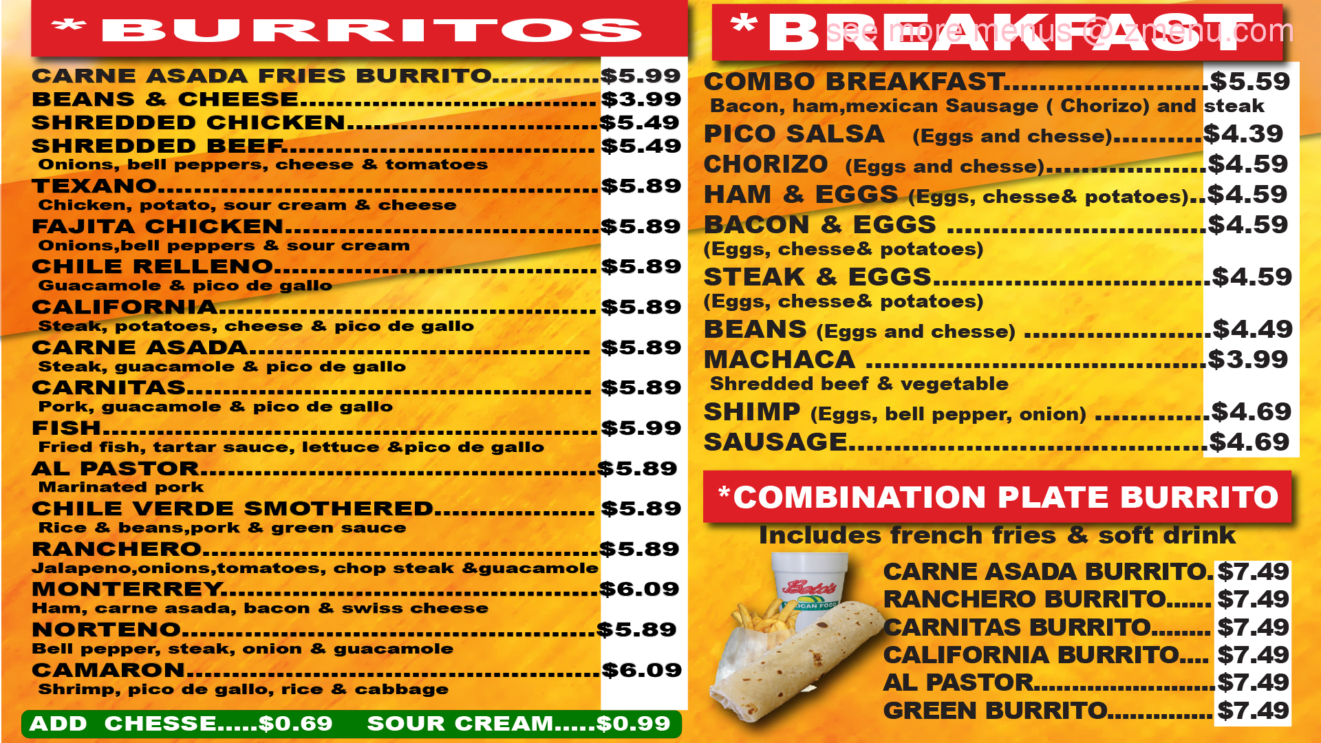 American Food Menu In Restaurant