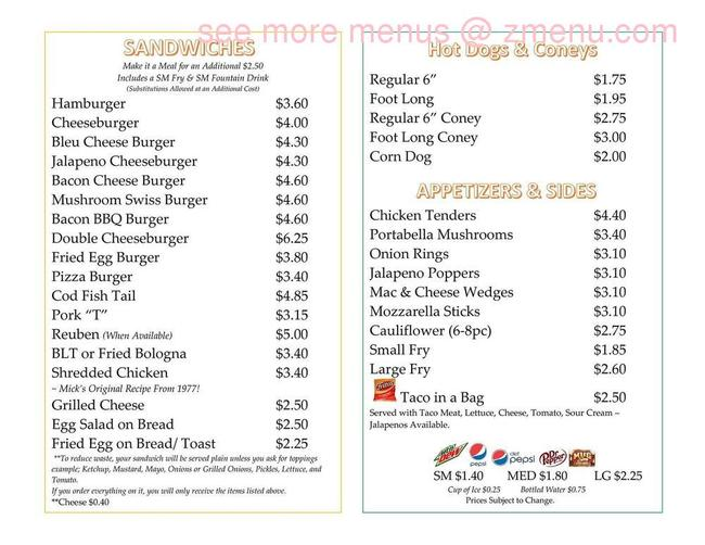 Online Menu Of Micks 1872 Restaurant Newark Ohio 43055