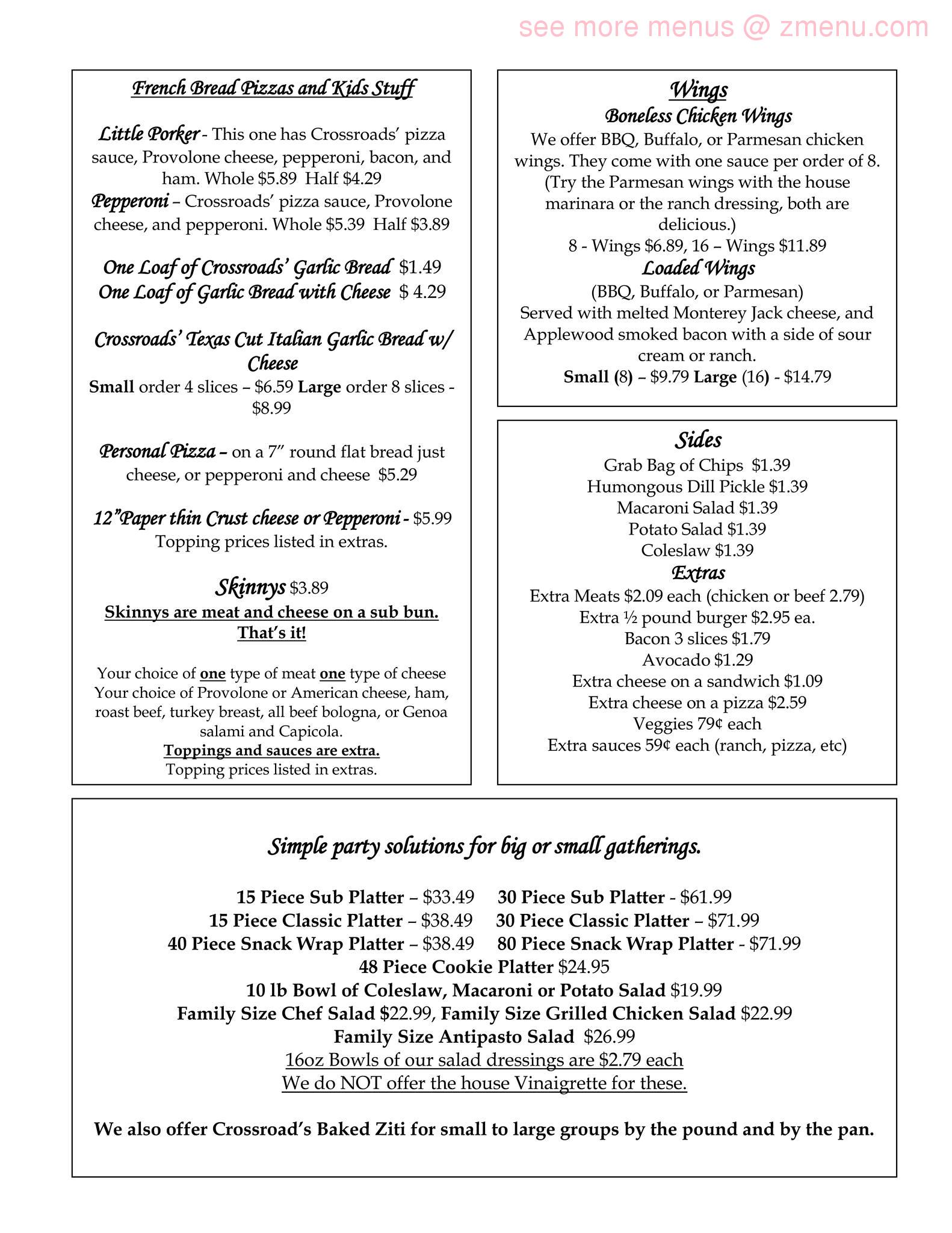 Online Menu of Crossroads Cafe Restaurant, North Baltimore, Ohio