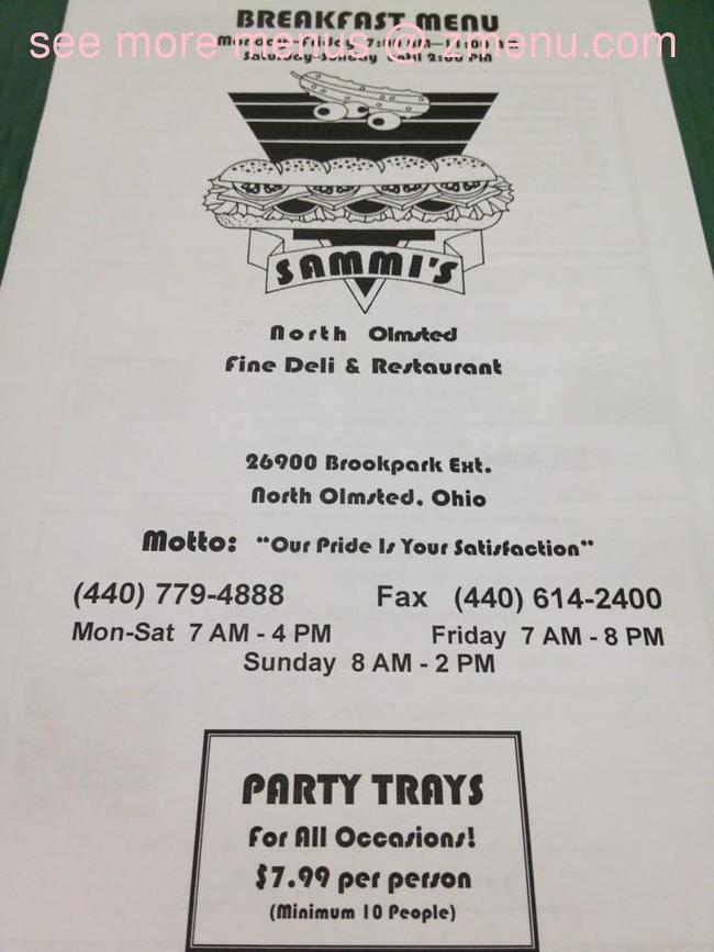 Online Menu Of Sammis Deli Restaurant North Olmsted Ohio