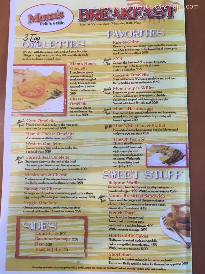Online Menu Of Mom S Deli Amp Grill Restaurant North