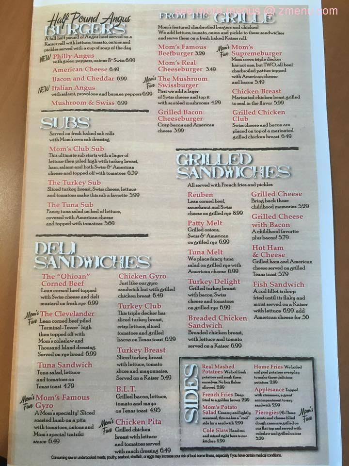 Mom S Restaurant North Royalton Menu