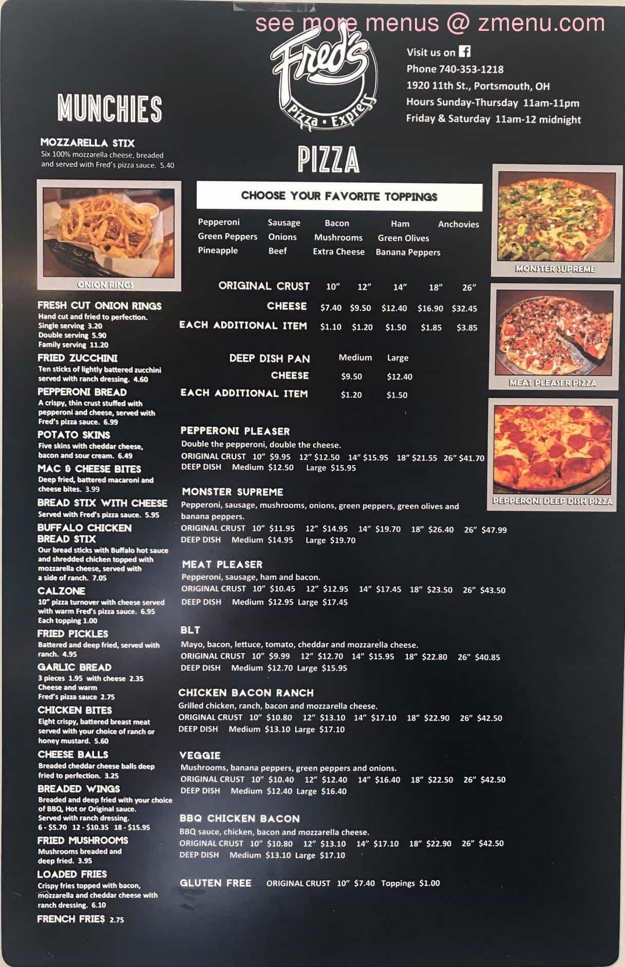 Online Menu Of Freds Pizza Express Restaurant Portsmouth