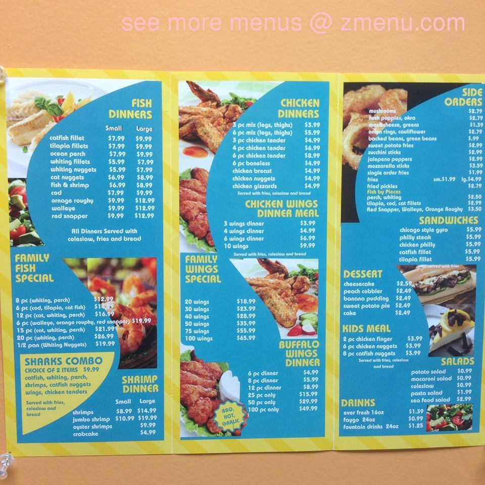 Online menu of sharks fish and chicken restaurant for Sharks fish and chicken menu