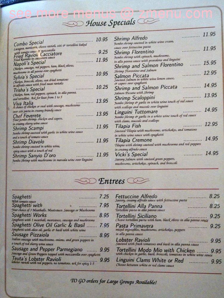 Cafe Napoli Menu Prices