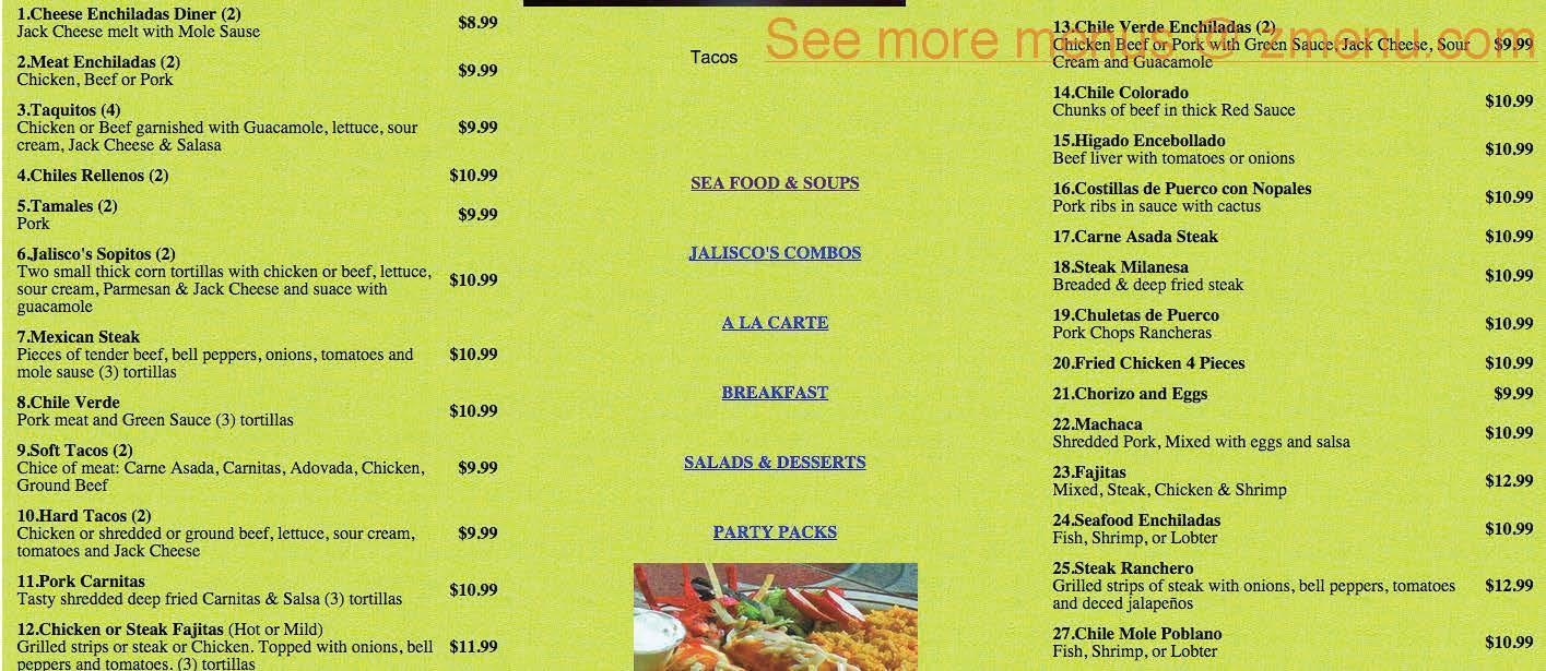 Online Menu Of Mi Jaliscos Taqueria Restaurant Brentwood
