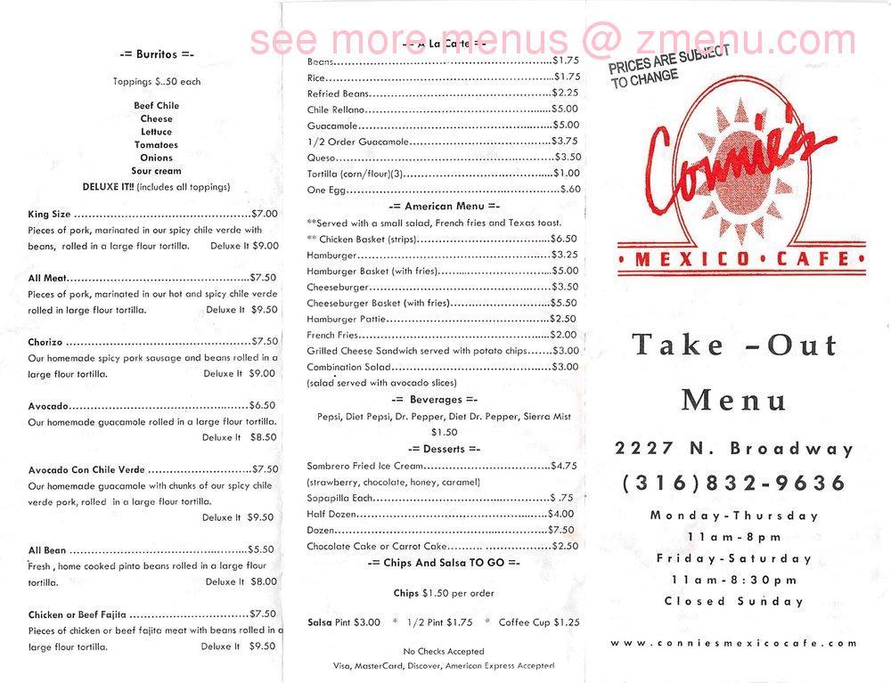 Online Menu Of Connies Mexico Cafe Restaurant Wichita Kansas  Zmenu