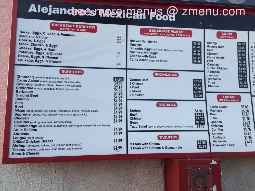 Online Menu Of Alejandro S Mexican Food Restaurant