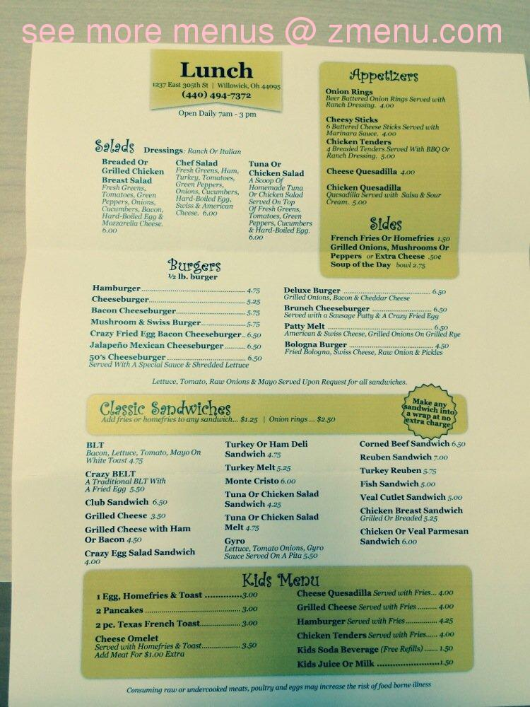 Crazy Egg Cafe Menu