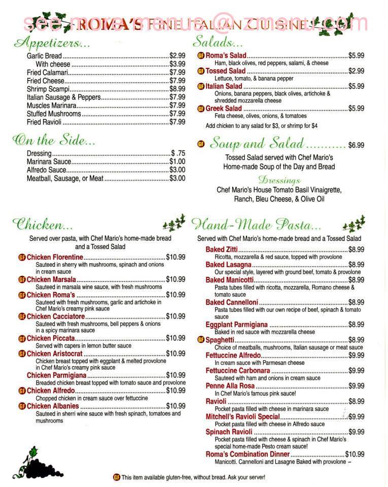 Romas Italian Restaurant Menu