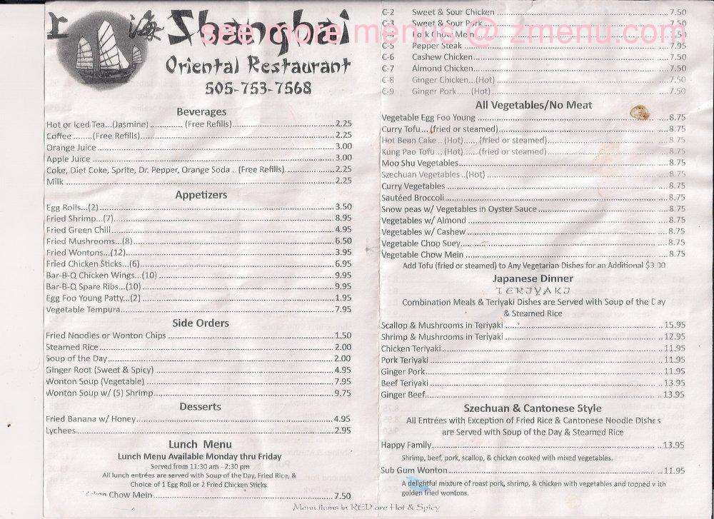 Online Menu Of Shanghai Restaurant Espanola New Mexico 87532 Zmenu