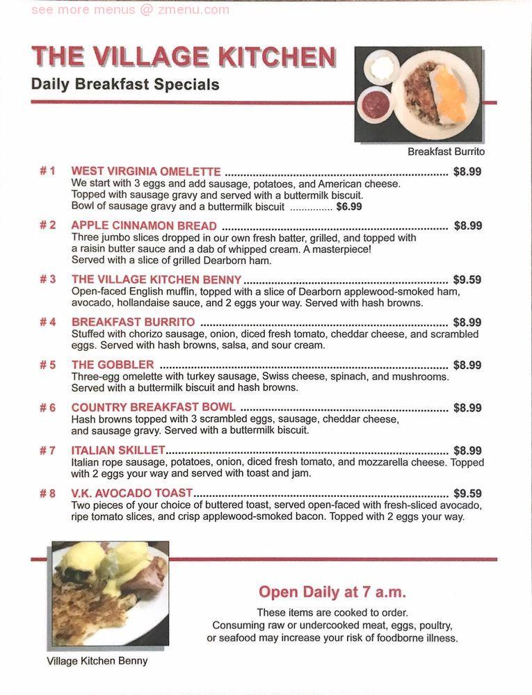 Online Menu Of Village Kitchen Restaurant Ann Arbor Michigan 48103 Zmenu