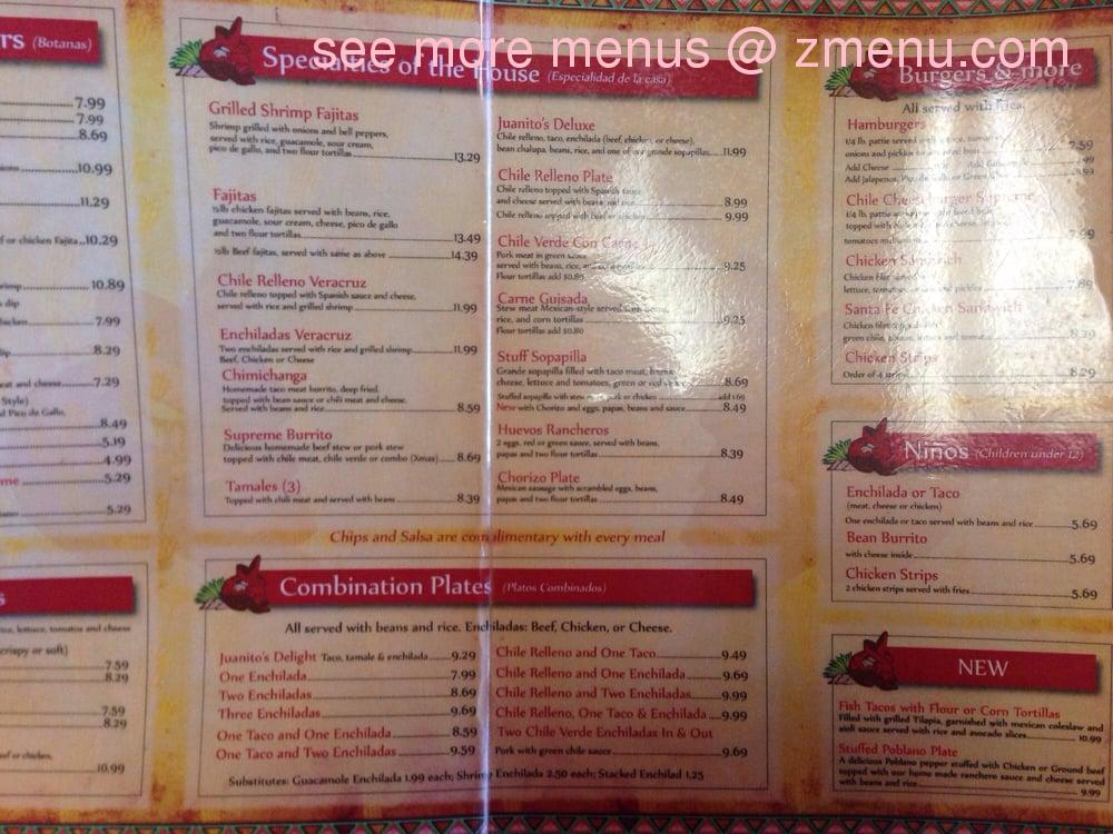 Juanito S Mexican Restaurant Menu