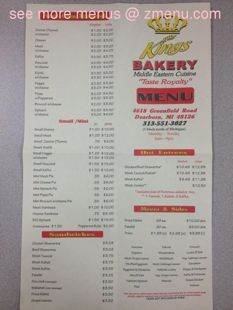 Online menu of kings bakery restaurant dearborn michigan 48126 note the menu prices may subject to change thecheapjerseys Images